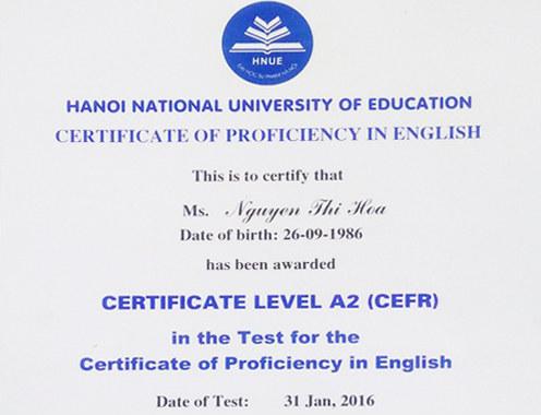 Thông báo thi tuyển chứng chỉ Tiếng Anh A2